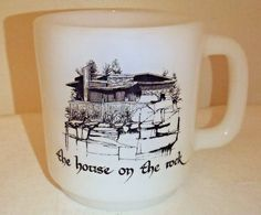 HOUSE ON THE ROCK COFFEE MUG GLASBAKE MILK GLASS VTG ARCHITECTURE ALEX JORDAN #Glasbake
