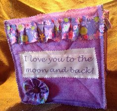 Fabric Rag Cube Storage Purple Print Outside By ButtonBlessings, $20.00
