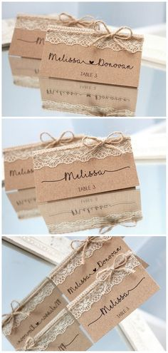Rustic place cards, rustic wedding place cards, country wedding place cards, rustic place cards with lace, name cards for rustic wedding - tischkarten hochzeit rustikal mit spitze tischkarten rustikal Vintage Place Cards, Rustic Place Cards, Diy Place Cards, Cards Diy, Country Wedding Invitations, Rustic Invitations, Invitation Cards, Invitation Envelopes, Wedding Stationery