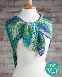 Free Easy Crochet Shawl Crochet Pattern Download -- Designed by KCN Design Team. Featured in Season 5, episode 505, of Knit and Crochet Now! TV. Download here: https://www.anniescatalog.com/knitandcrochetnow/patterns/detail.html?pattern_id=21