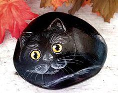Halloween black cat painted rock, black cat rock, painted rocks, halloween painted rocks, halloween decor, halloween decoration, black cat