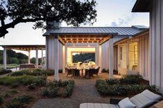 Contemporary Farmhouse Exterior 17 Patio Design, Exterior Design, House Design, Landscaping Design, Outdoor Spaces, Outdoor Living, Indoor Outdoor, Farmhouse Plans, Farmhouse Style