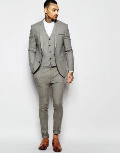 ASOS Super Skinny Suit In Brown Dogstooth
