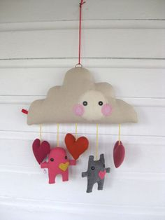 Baby Mobile - Moxy and Toots Cloud, Heart and Monsters Hanging Mobile Nursery Decoration