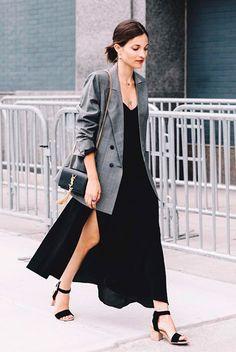 vestido longo blazer
