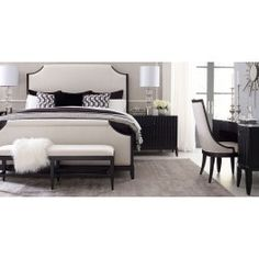Legacy Classic Symphony Upholstered Bedroom Set in Platinum and Black Tie Legacy Classic Furniture, Inc. Bedroom Design, Upholstered Bedroom Set, Furniture, Home Furniture, Bedroom Decor, Elegant Home Decor, Elegant Bedroom, Classic Furniture, Upholstered Bedroom