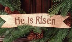 Primitive Easter Burlap Ribbon Banner He Is Risen Ornament Garland Religious BU #Primitive #Handmade