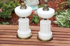 Antique Pair of Milk Glass Table Lamps by QUEENIESECLECTIC on Etsy