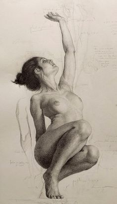 Shane Wolf, stooping and reaching nude female figure study anatomy drawing. #NSFW