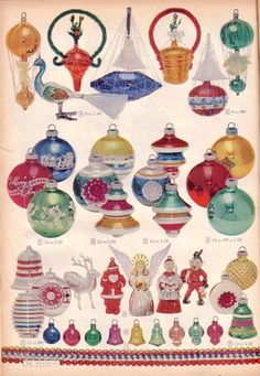 1952 vintage Montgomery Ward -- Christmas ornaments - My Merry Christmas Red ball is in there! Christmas Catalogs, Old Christmas, Old Fashioned Christmas, Antique Christmas, Retro Christmas, Christmas Items, Christmas Holidays, Christmas Crafts, Christmas Decorations