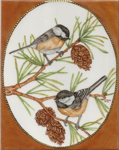 Chickadees :: Carolene's China Painting