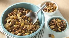 Original Chex® Party Mix recipe from Betty Crocker Chex Mix Recipes, Dog Food Recipes, Snack Recipes, Party Recipes, Cooking Recipes, Party Mix Recipe, Chex Party Mix, Biscuits, Salty Snacks