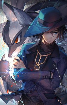 """gotta catch all r̶i̶o̶l̶u̶s̶ girls"" haha just kidding it's Riley and his Lucario from Pokemon ^^"