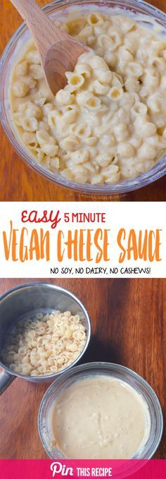 This velvety vegan cheese sauce is ultra creamy, deliciously cheesy, & super low in fat and calories. To make for low cholesterol diet and vegan friends. Vegan Sauces, Vegan Foods, Vegan Dishes, Vegan Lunches, Easy Vegan Food, Easy Vegan Meals, Delicious Meals, Easy Meals, Vegan Cheese Sauce