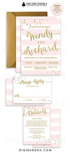 Elegant modern pink & gold stripe wedding invitations in a 3 piece suite including RSVP reply card and Details / Info enclosure card. Coordinating backers, gold glitter confetti sparkle details. Color envelopes, envelope liners and belly bands also available. digibuddha.com