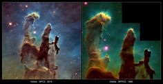This comparison view shows the Eagle Nebula's famed Pillars of Creation as seen by the Hubble Space Telescope in 1995 (right), and again 20 years later in 2015. The new image was captured by Hubble's Wide Field Camera 3, installed in 2009, which offers a clearer view of glowing oxygen, hydrogen and sulfur.<br />