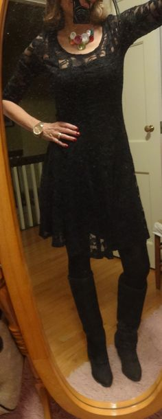 Dressing over 50 - black lace dress and knee high boots