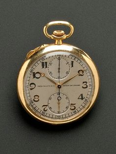 18kt Gold Open Face Split Second Chronograph Pocket Watch, Patek Philippe, c. 1922-3, the silvertone metal dial with Arabic numeral indicators, push button activated split seconds, subsidiary thirty minute recorder dial and seconds dial, locking mechanism, enclosing twenty-eight jewel, eight adjustment, signed movement no. 197 817, glass crystal, within plain polished case no. 412559, signed dial, interior case, bow, cuvette, and movement, 46 mm, reverse incised with initials.