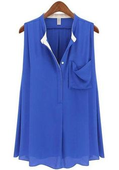 Blue Sleeveless Pockets Ruffles Chiffon Blouse pictures