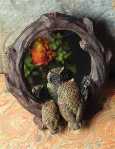 Faux Bois Owlkins Mirror - Mama and Baby Owl peer within a dear little looking glass. Felt backing. Easel back. Woodlands Cottage, Victorian Trading Company, Unique Mirrors, Owl Always Love You, Wood Resin, Wall Mounted Mirror, Baby Owls, Easel, Owls