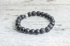 Matte black onyx, shiny onyx and lava stone beaded stretchy bracelet, made to order yoga bracelet, mens bracelet, womens bracelet