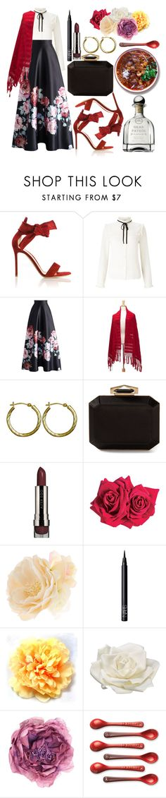 """Con su rebozo de ceda"" by karllydolly ❤ liked on Polyvore featuring Gianvito Rossi, Lipsy, Chicwish, NOVICA, Lord & Taylor, Alexander McQueen, LORAC, Avon, Accessorize and NARS Cosmetics"