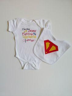 Superhero First Birthday Onesie Bib Set For Little Superman 1st Birthday Boy