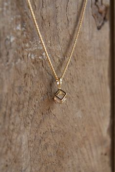 Small chain 3D cubic diamond necklace in gold tone with Ton Petit Bijou (Your Little Jewel) toggle