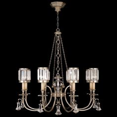 EATON PLACE SILVER 585240-2ST DESCRIPTION Chandelier in a warm muted silver leaf finish with faceted channel set crystal shades and brillian...