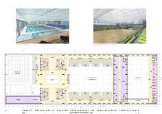képek: NKE Sportközpont, Skardelli Györgyék (KÖZTI) I. díjas terve