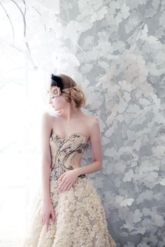 Floral embroidered wedding dress ideas   Photoshoot For White Couture by Odette   http://www.bridestory.com/odette/projects/photoshoot-white-couture