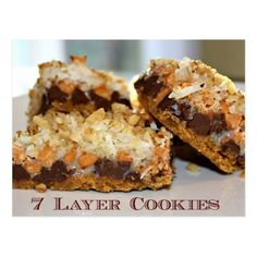 Seven Layer Cookies - these are one of my all-time favorite cookies! so good and so easy to make :) (Favorite Cookies) Köstliche Desserts, Delicious Desserts, Dessert Recipes, Yummy Food, Brunch Recipes, Tailgate Desserts, Awesome Desserts, Dessert Bars, Dinner Recipes