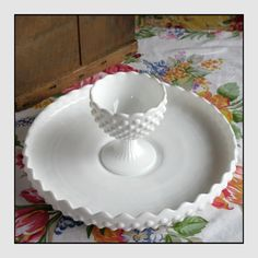 Fenton Milk Glass Hobnail Chip and Dip / Wedding by ShiftingYears