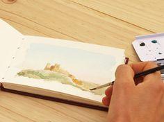"""Cuaderno para acuarela A6. Papel """"Fabriano"""" 300gr. / A6 Sketchbook  """"Fabriano"""" paper 300gr."""