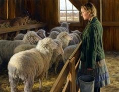 Robert Duncan (1952, American)   Look at the trust in the sheep's eyes toward the girl.
