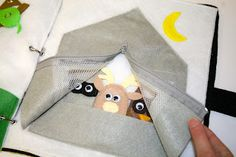 cute tent/camping quiet book page with forest animal finger puppets:)