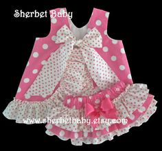 Hot Pink Polka Dots Ruffled Pinafore Set Sassy Pants Ruffle Diaper Cover Bloomer