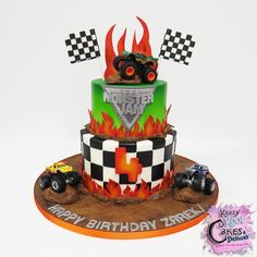 Hi everybody! Check out our Monster Jam cake we created for Zarek celebrating his 4th birthday! This cake was a BLAST to make! We had the chance to do a little airbrushing and hand-dusting of color! So fun! Kudos to my hubby for making all of his AWESOME decorations! Hope you like it everybody! #krazykoolcakes #monsterjam #monsterjamcake #monsterjambirthdaycake #monsterjambirthday #monsterjam2017 #monsterjamlive #bestcakesinelpaso #bestcakesinelpasotexas #915cakes #customcakesinelpasotexas…