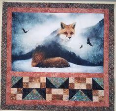 Beautiful quilt featuring a Hoffman Fabrics digital print