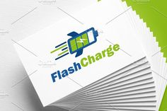 Flash Charge | Battery | Logo by REDVY on @creativemarket