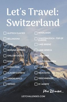 Travel : Switzerland How many have you visited? The average score is 7 out of Find out how you rank. Take theLet's Travel : Switzerland How many have you visited? The average score is 7 out of Find out how you rank. Travel Checklist, Travel List, Travel Goals, Travel Guides, Travel Essentials, Travel Hacks, Glacier Express, Places To Travel, Travel Destinations