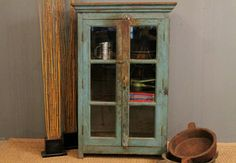 Vintage Handmade Distressed Chippy Painted Blue Indian Glass Storage Cabinet