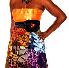 Ankara/Satin Orange Floor Length Evening Gown, Strapless Empire Waist Evening Dress, Orange Strapless Long Dress, African Dressss