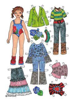 Josefine Paper Doll in Colours. Josefine påklædningsdukke i farver. Female Names, Paper Fashion, Vintage Paper Dolls, Retro Toys, Great Memories, Art Pages, Matilda, Puppets, Monkey