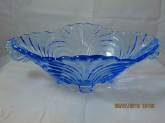 Cambridge Caprice Moonlight Blue Oval Shape Footed 13 Bowl Mint | eBay