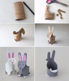 FREE DIY PDF printable template for making loo roll rabbits Toddler Crafts, Diy Crafts For Kids, Projects For Kids, Fun Crafts, Arts And Crafts, Toilet Roll Craft, Toilet Paper Roll Crafts, Rolled Paper Art, Camping Crafts