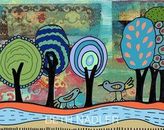 Birds and Lollipop Trees Print by Beth Nadler by BethNadlerArt, $18.00