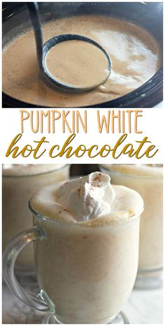 Make some pumpkin white hot chocolate for your holiday season! Pumpkin White Hot Chocolate 6 cups milk (whole or cups heavy can ouncesweetened condensed can ouncepure pumpkin tablespoon Pumpkin Drinks, Pumpkin Recipes, Fall Recipes, Holiday Recipes, Pumpkin Smoothie, Simple Recipes, Yummy Drinks, Yummy Food, Hot Drinks Recipe