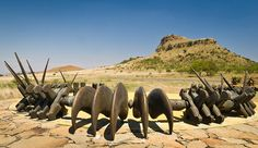 Isandhlwana Battlefield - memorial to Zulu impis in form of giant necklace worn by warriors.