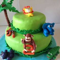 Petiscos da Sofia: Bolo de aniversário animais da selva Birthday Cake, Desserts, Food, Jungle Animals, Toddler Boy Birthday, Birthday Cakes, Snacks, Decorating Cakes, Cupcake